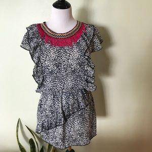 Dresses & Skirts - Pixie Market Ruffle, fringe, embroidery Mini Dress